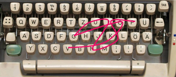 http://en.wikipedia.org/wiki/German_keyboard_layout#mediaviewer/File:Keyboard_on_a_German_mechanical_Olympia_typewriter.jpg